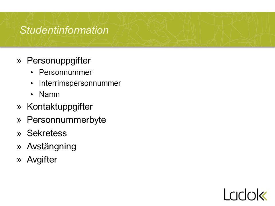 Studentinformation »Personuppgifter Personnummer Interrimspersonnummer Namn »Kontaktuppgifter »Personnummerbyte »Sekretess »Avstängning »Avgifter
