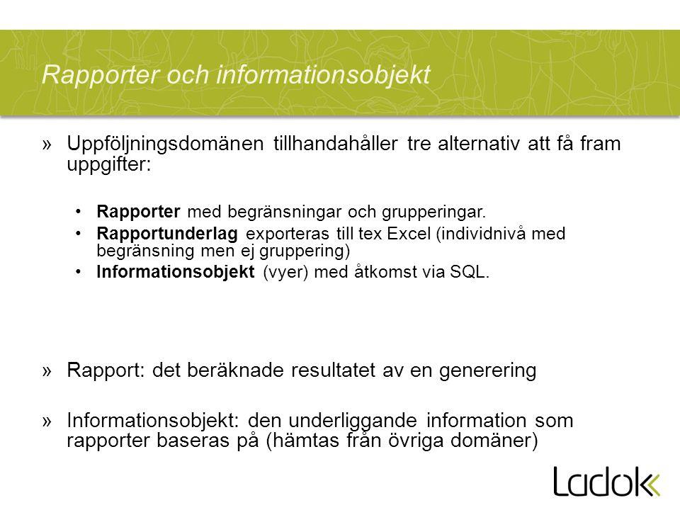 Rapporter och informationsobjekt »Uppföljningsdomänen tillhandahåller tre alternativ att få fram uppgifter: Rapporter med begränsningar och gruppering