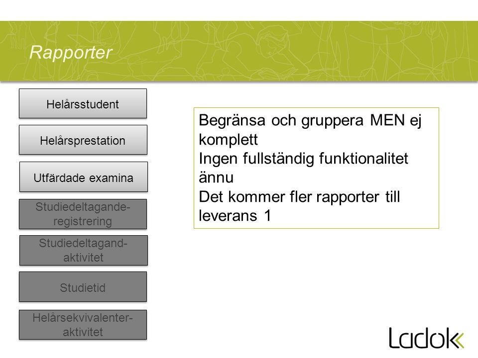 Rapporter Helårsstudent Helårsekvivalenter- aktivitet Studiedeltagand- aktivitet Studiedeltagande- registrering Utfärdade examina Helårsprestation Stu