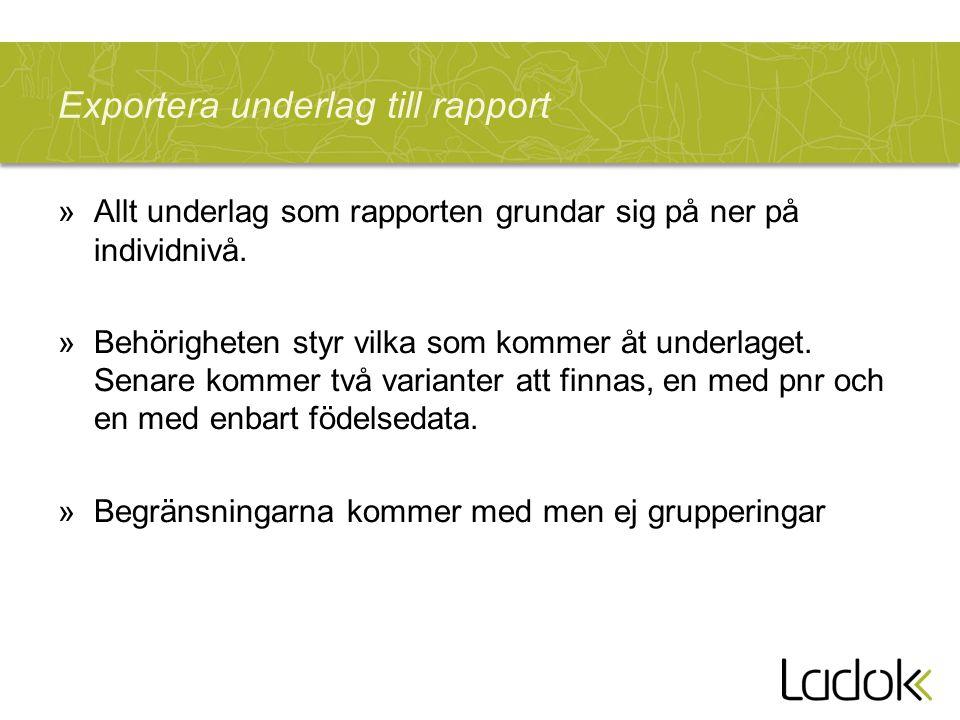 Exportera underlag till rapport »Allt underlag som rapporten grundar sig på ner på individnivå. »Behörigheten styr vilka som kommer åt underlaget. Sen