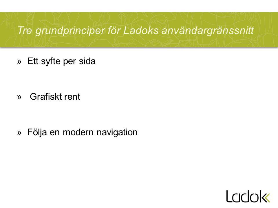 Tre grundprinciper för Ladoks användargränssnitt »Ett syfte per sida » Grafiskt rent »Följa en modern navigation