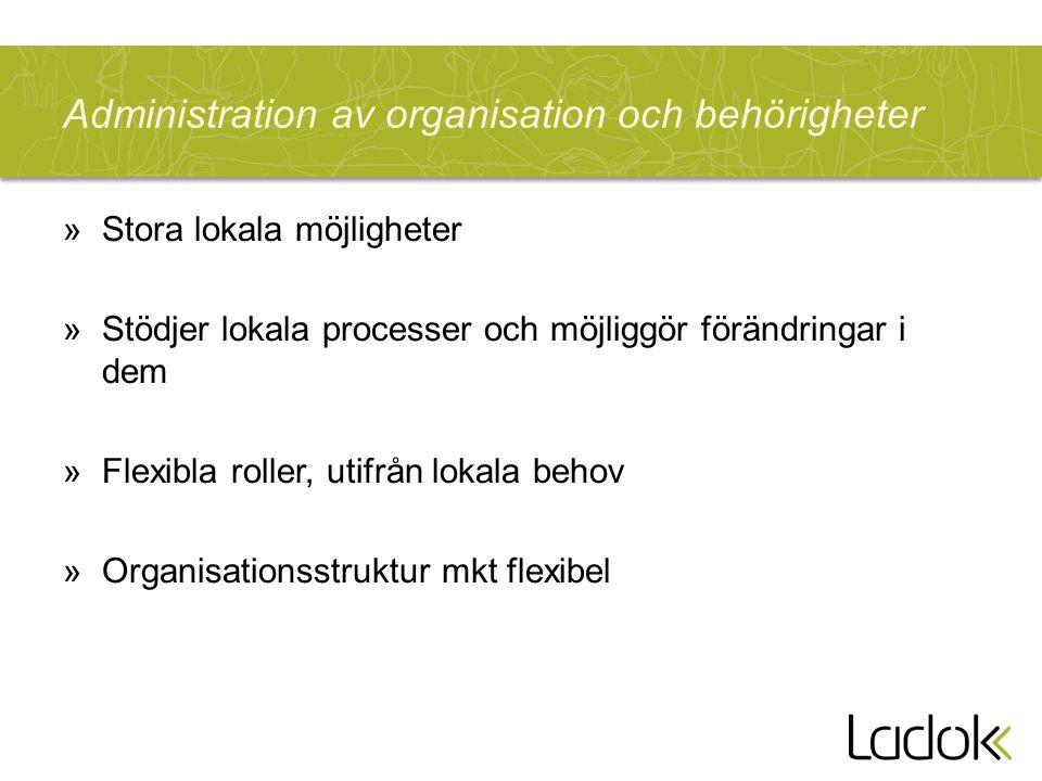 Administration av organisation och behörigheter »Stora lokala möjligheter »Stödjer lokala processer och möjliggör förändringar i dem »Flexibla roller,
