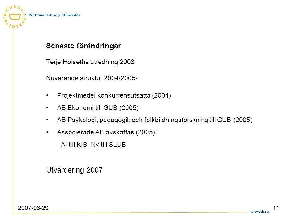 www.kb.se 2007-03-2911 Senaste förändringar Terje Höiseths utredning 2003 Nuvarande struktur 2004/2005- Projektmedel konkurrensutsatta (2004) AB Ekono
