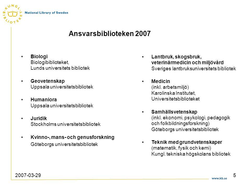 www.kb.se 2007-03-296 9 ämnesområden – 9 ansvarsbibliotek Ämnesmässigt heltäckande Slutet 80-talet – slutet 90-talet Förvaltas av KB - Nationell samverkan Ansvarsbiblioteken den direkta målgruppen Samrådsgrupper - rådgivande Ansvarsbiblioteken 2007