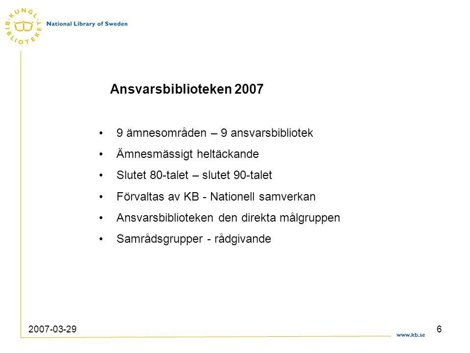 www.kb.se 2007-03-296 9 ämnesområden – 9 ansvarsbibliotek Ämnesmässigt heltäckande Slutet 80-talet – slutet 90-talet Förvaltas av KB - Nationell samve
