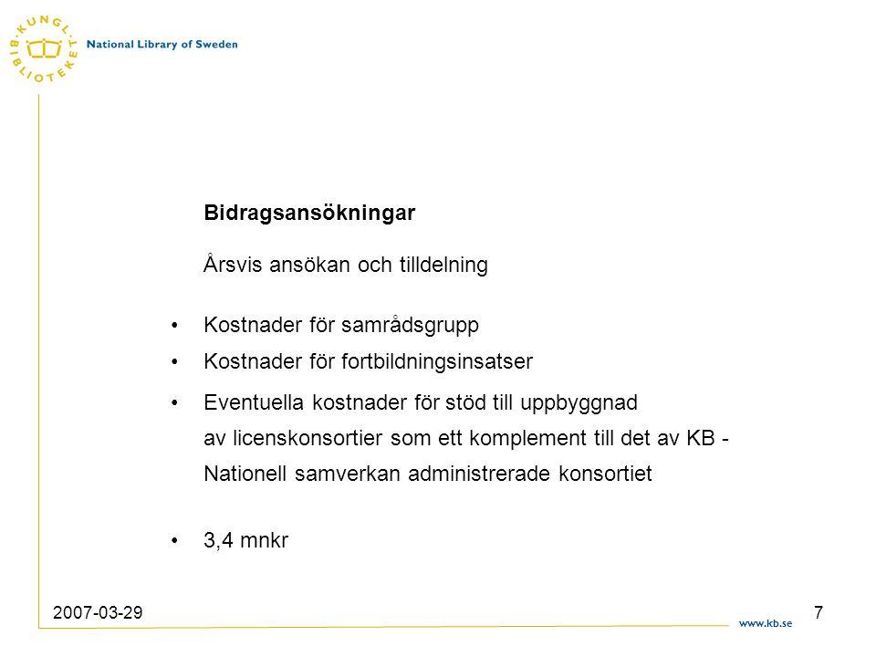 www.kb.se 2007-03-297 Bidragsansökningar Årsvis ansökan och tilldelning Kostnader för samrådsgrupp Kostnader för fortbildningsinsatser Eventuella kost