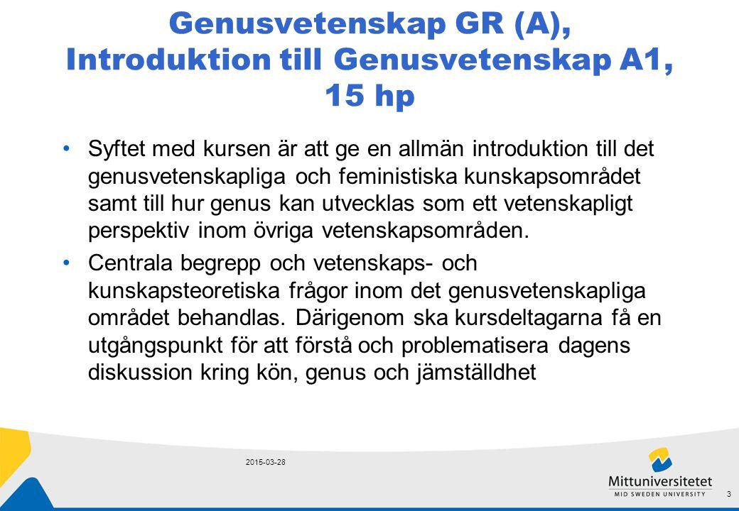 Genusvetenskap GR (A), Feministisk teori och intersektionella maktanalyser A2, 15 hp Kursen vänder sig till dig som är intresserad av samtida feministisk debatt samt hur genus är relaterat till andra sociala dimensioner och livslinjer.