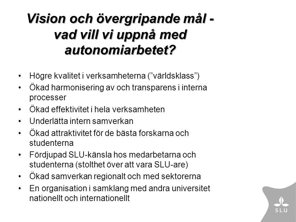 Vision och övergripande mål - vad vill vi uppnå med autonomiarbetet.