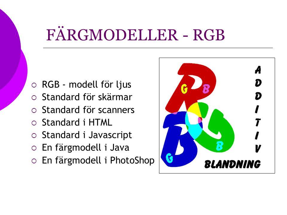 FÄRGMODELLER - RGB  RGB - modell för ljus  Standard för skärmar  Standard för scanners  Standard i HTML  Standard i Javascript  En färgmodell i