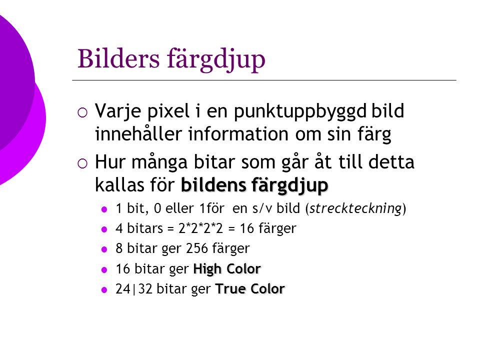 Bilders färgdjup  Varje pixel i en punktuppbyggd bild innehåller information om sin färg bildens färgdjup  Hur många bitar som går åt till detta kal
