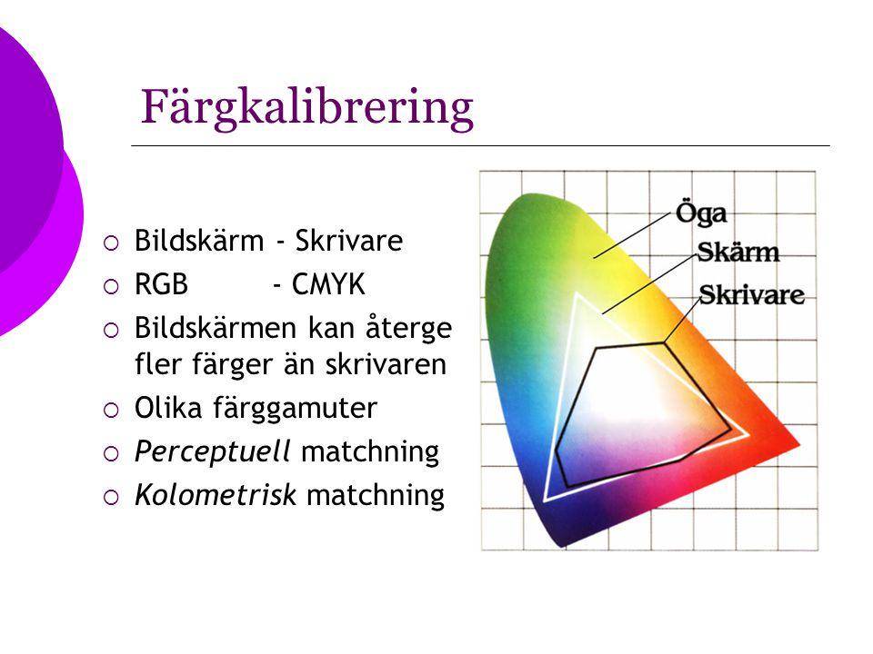Färgkalibrering  Bildskärm - Skrivare  RGB - CMYK  Bildskärmen kan återge fler färger än skrivaren  Olika färggamuter  Perceptuell matchning  Ko