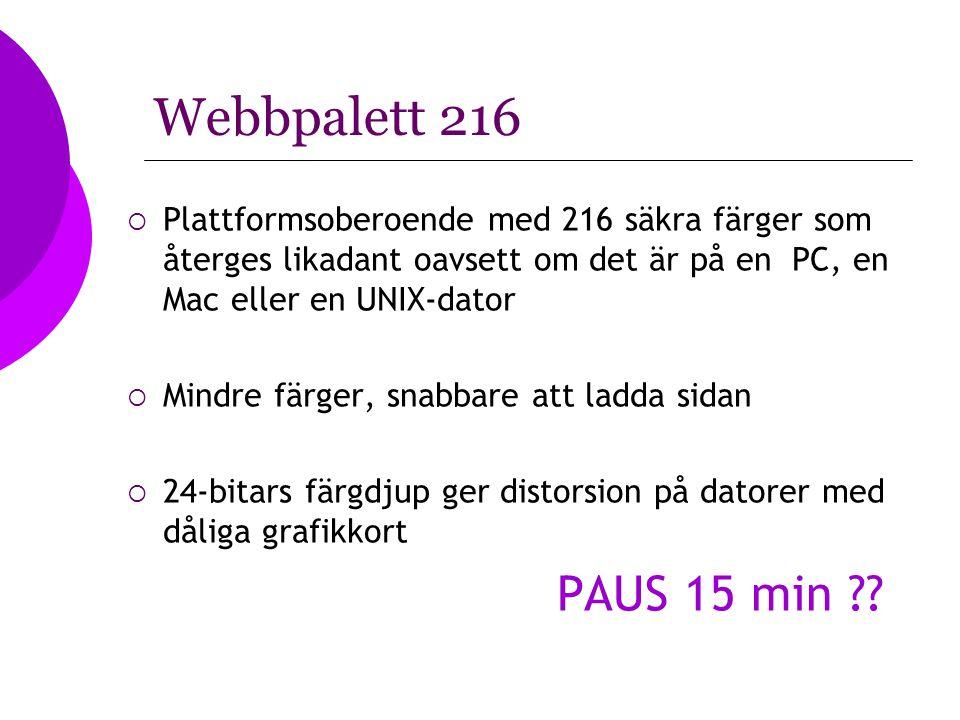 Webbpalett 216  Plattformsoberoende med 216 säkra färger som återges likadant oavsett om det är på en PC, en Mac eller en UNIX-dator  Mindre färger,
