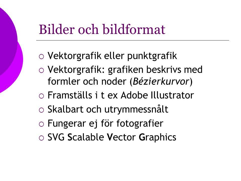 Bilder och bildformat  Vektorgrafik eller punktgrafik  Vektorgrafik: grafiken beskrivs med formler och noder (Bézierkurvor)  Framställs i t ex Adob