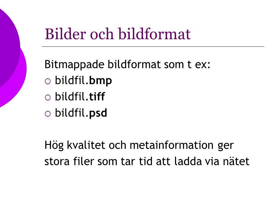 Bilder och bildformat Bitmappade bildformat som t ex:  bildfil.bmp  bildfil.tiff  bildfil.psd Hög kvalitet och metainformation ger stora filer som