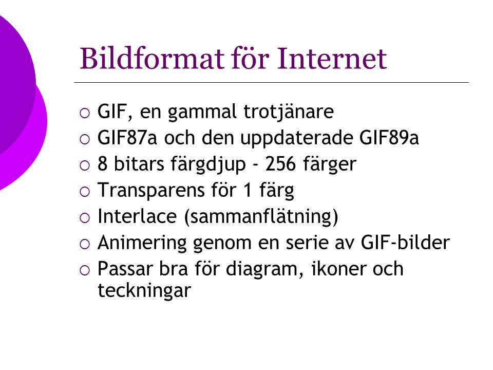 Bildformat för Internet  GIF, en gammal trotjänare  GIF87a och den uppdaterade GIF89a  8 bitars färgdjup - 256 färger  Transparens för 1 färg  In