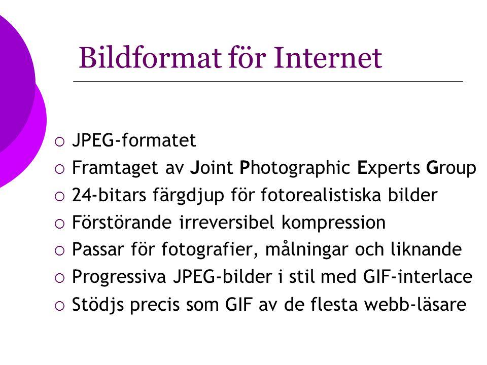 Bildformat för Internet  JPEG-formatet  Framtaget av Joint Photographic Experts Group  24-bitars färgdjup för fotorealistiska bilder  Förstörande