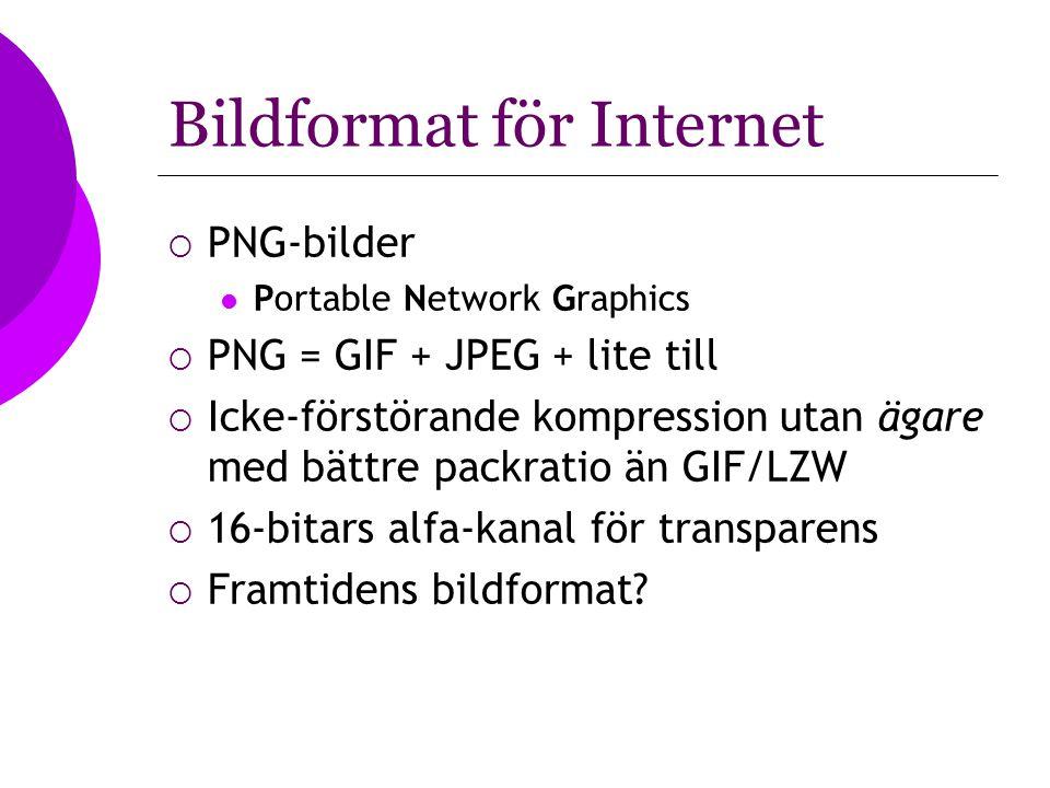 Bildformat för Internet  PNG-bilder Portable Network Graphics  PNG = GIF + JPEG + lite till  Icke-förstörande kompression utan ägare med bättre pac