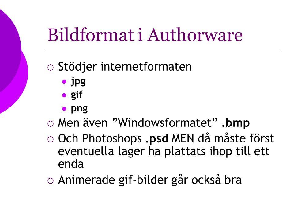 """Bildformat i Authorware  Stödjer internetformaten jpg gif png  Men även """"Windowsformatet"""".bmp  Och Photoshops.psd MEN då måste först eventuella lag"""
