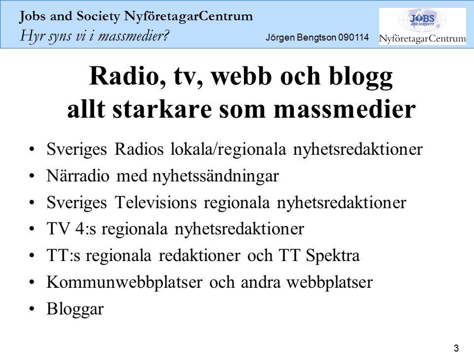 Jobs and Society NyföretagarCentrum Hyr syns vi i massmedier? Jörgen Bengtson 090114 3 Radio, tv, webb och blogg allt starkare som massmedier Sveriges