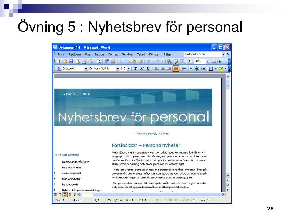 28 Övning 5 : Nyhetsbrev för personal