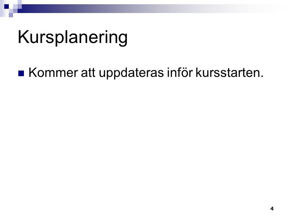4 Kursplanering Kommer att uppdateras inför kursstarten.