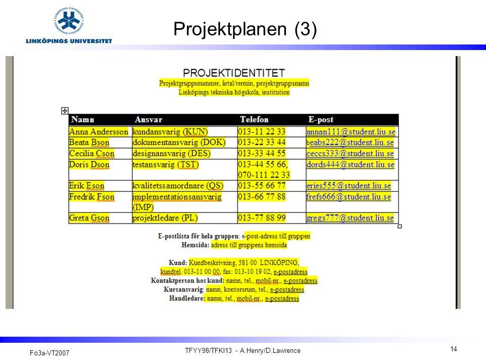Fö3a-VT2007 TFYY98/TFKI13 - A.Henry/D.Lawrence 14 Projektplanen (3)