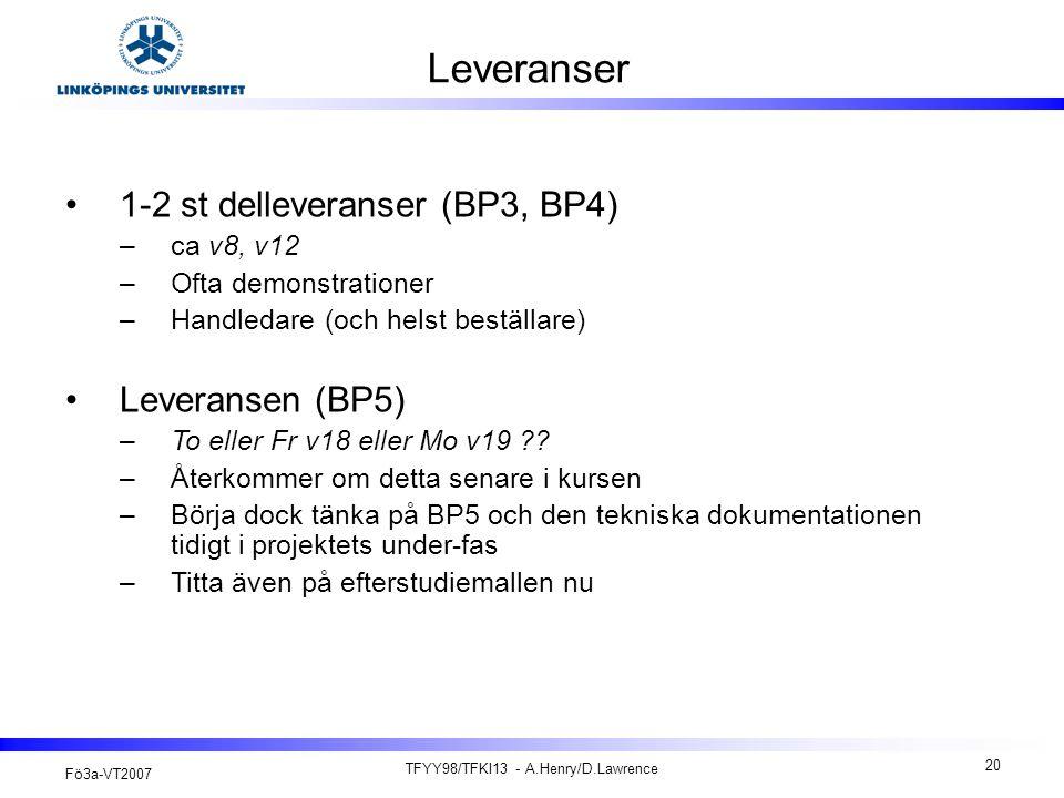 Fö3a-VT2007 TFYY98/TFKI13 - A.Henry/D.Lawrence 20 Leveranser 1-2 st delleveranser (BP3, BP4) –ca v8, v12 –Ofta demonstrationer –Handledare (och helst beställare) Leveransen (BP5) –To eller Fr v18 eller Mo v19 ?.