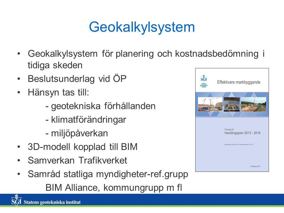 Geokalkylsystem Geokalkylsystem för planering och kostnadsbedömning i tidiga skeden Beslutsunderlag vid ÖP Hänsyn tas till: - geotekniska förhållanden