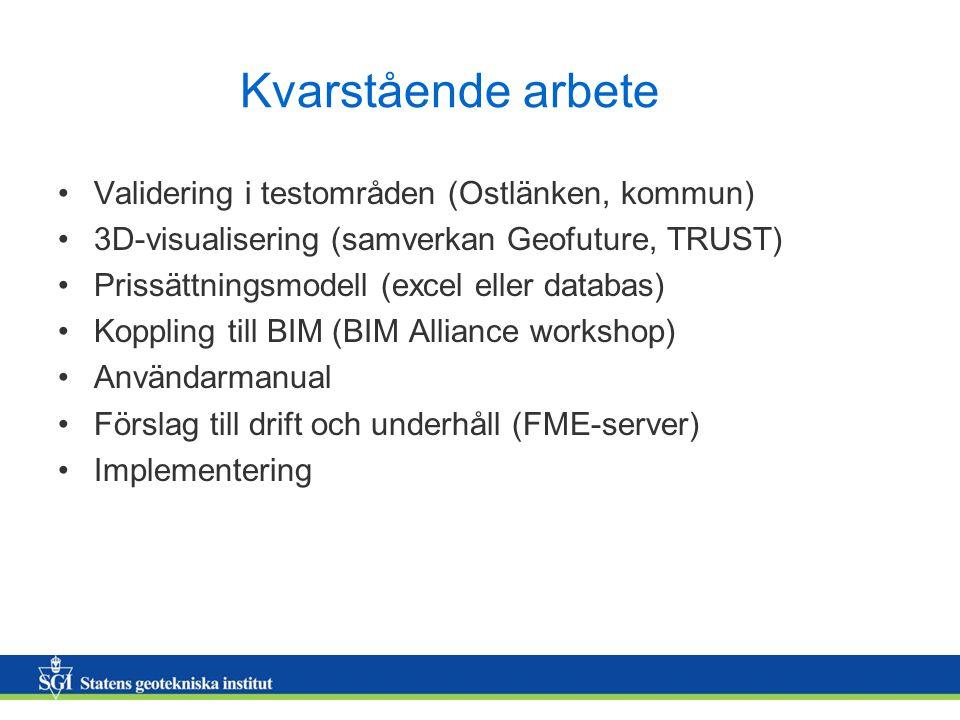 Kvarstående arbete Validering i testområden (Ostlänken, kommun) 3D-visualisering (samverkan Geofuture, TRUST) Prissättningsmodell (excel eller databas) Koppling till BIM (BIM Alliance workshop) Användarmanual Förslag till drift och underhåll (FME-server) Implementering