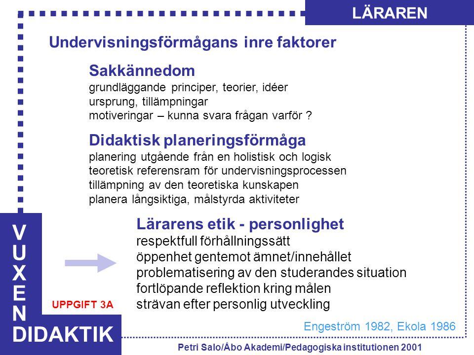VUXENVUXEN DIDAKTIK LÄRAREN Petri Salo/Åbo Akademi/Pedagogiska institutionen 2001 Undervisningsförmågans inre faktorer Sakkännedom grundläggande principer, teorier, idéer ursprung, tillämpningar motiveringar – kunna svara frågan varför .