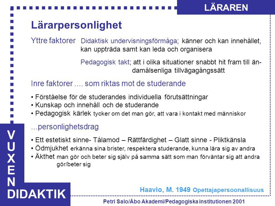 VUXENVUXEN DIDAKTIK LÄRAREN Petri Salo/Åbo Akademi/Pedagogiska institutionen 2001 Lärarpersonlighet Yttre faktorer Didaktisk undervisningsförmåga; känner och kan innehållet, kan uppträda samt kan leda och organisera Pedagogisk takt; att i olika situationer snabbt hit fram till än- damålsenliga tillvägagångssätt Inre faktorer....