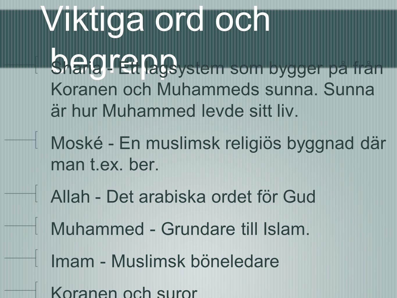 Viktiga ord och begrepp Sharia - Ett lagsystem som bygger på från Koranen och Muhammeds sunna.