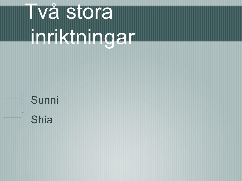 Två stora inriktningar Sunni Shia
