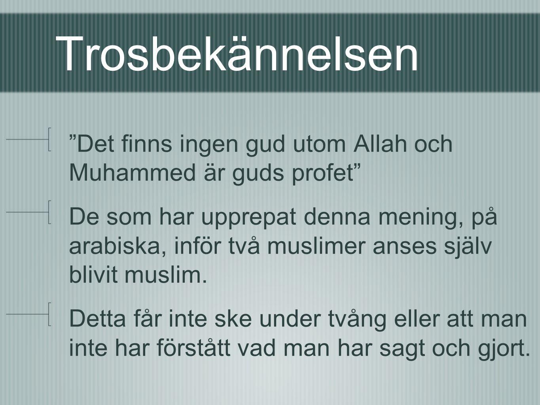 Trosbekännelsen Det finns ingen gud utom Allah och Muhammed är guds profet De som har upprepat denna mening, på arabiska, inför två muslimer anses själv blivit muslim.