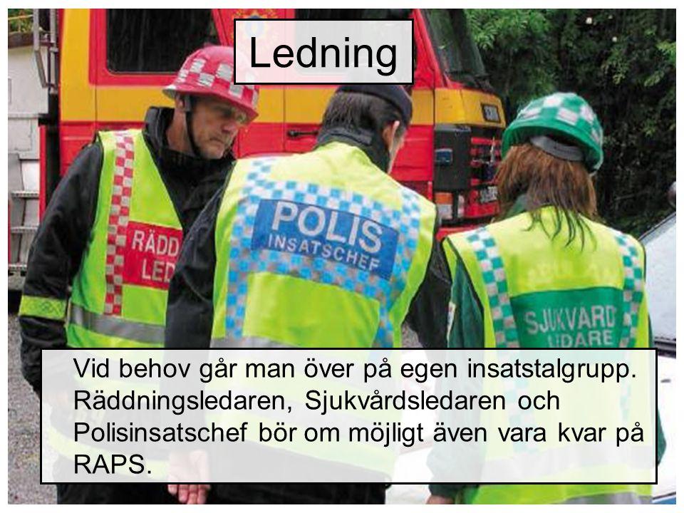 Ledning Vid behov går man över på egen insatstalgrupp. Räddningsledaren, Sjukvårdsledaren och Polisinsatschef bör om möjligt även vara kvar på RAPS.