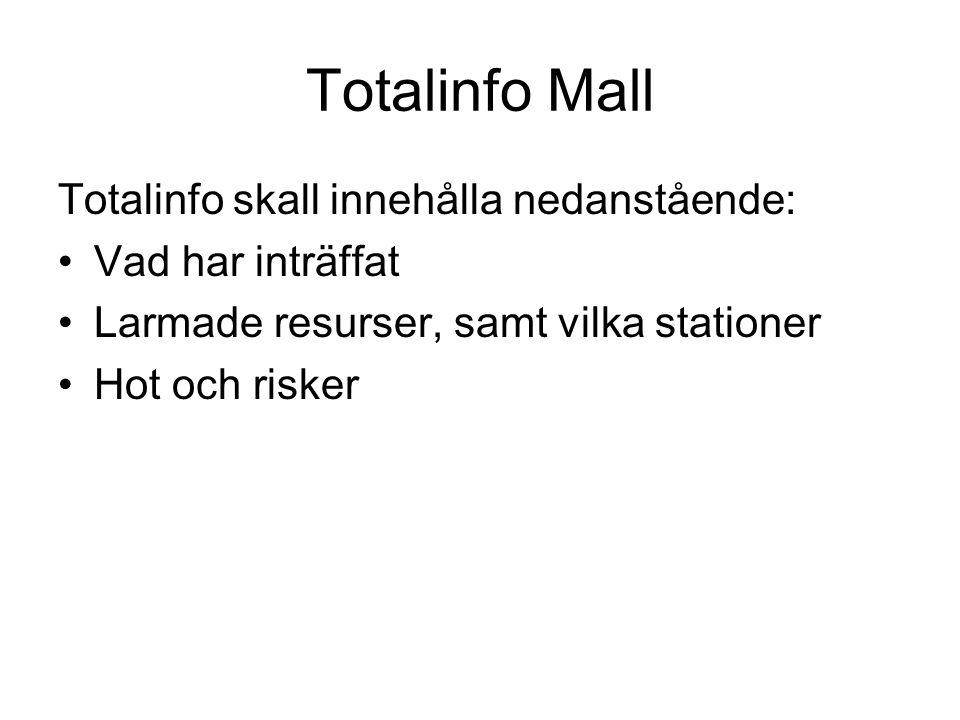 Totalinfo Mall Totalinfo skall innehålla nedanstående: Vad har inträffat Larmade resurser, samt vilka stationer Hot och risker