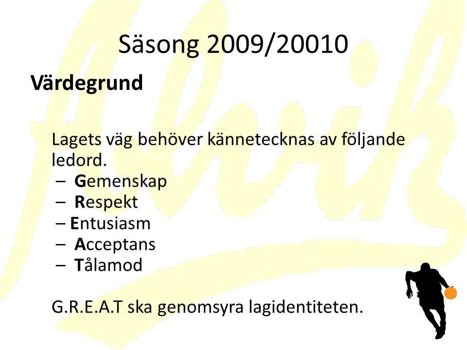Säsong 2009/20010 Lagets väg behöver kännetecknas av följande ledord.