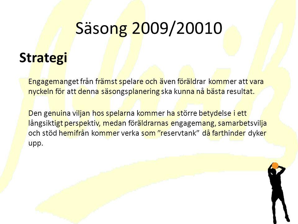 Säsong 2009/20010 Engagemanget från främst spelare och även föräldrar kommer att vara nyckeln för att denna säsongsplanering ska kunna nå bästa resultat.