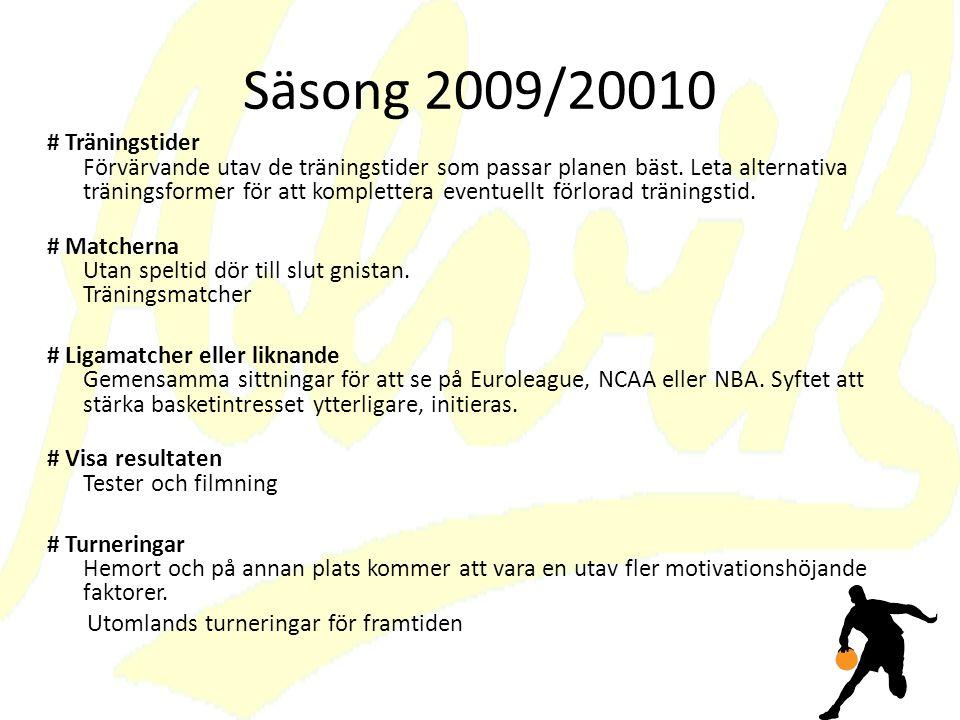 Säsong 2009/20010 # Träningstider Förvärvande utav de träningstider som passar planen bäst.