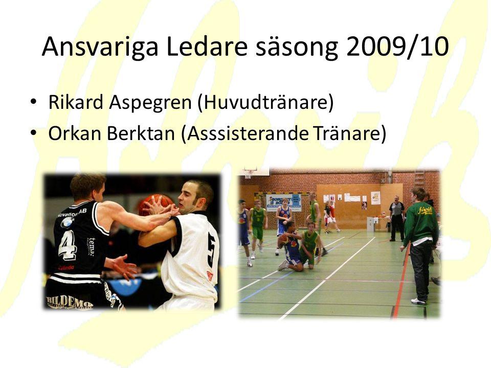 Ansvariga Ledare säsong 2009/10 Rikard Aspegren (Huvudtränare) Orkan Berktan (Asssisterande Tränare)