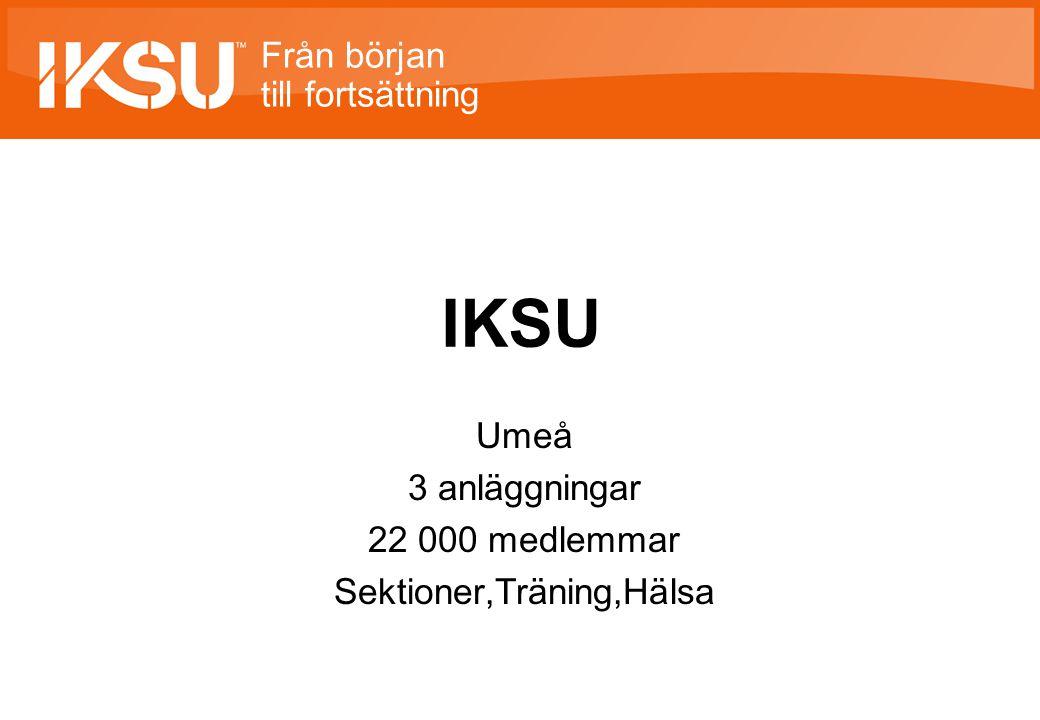 Från början till fortsättning IKSU Umeå 3 anläggningar 22 000 medlemmar Sektioner,Träning,Hälsa