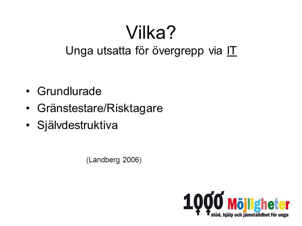 Vilka? Unga utsatta för övergrepp via IT Grundlurade Gränstestare/Risktagare Självdestruktiva (Landberg 2006)