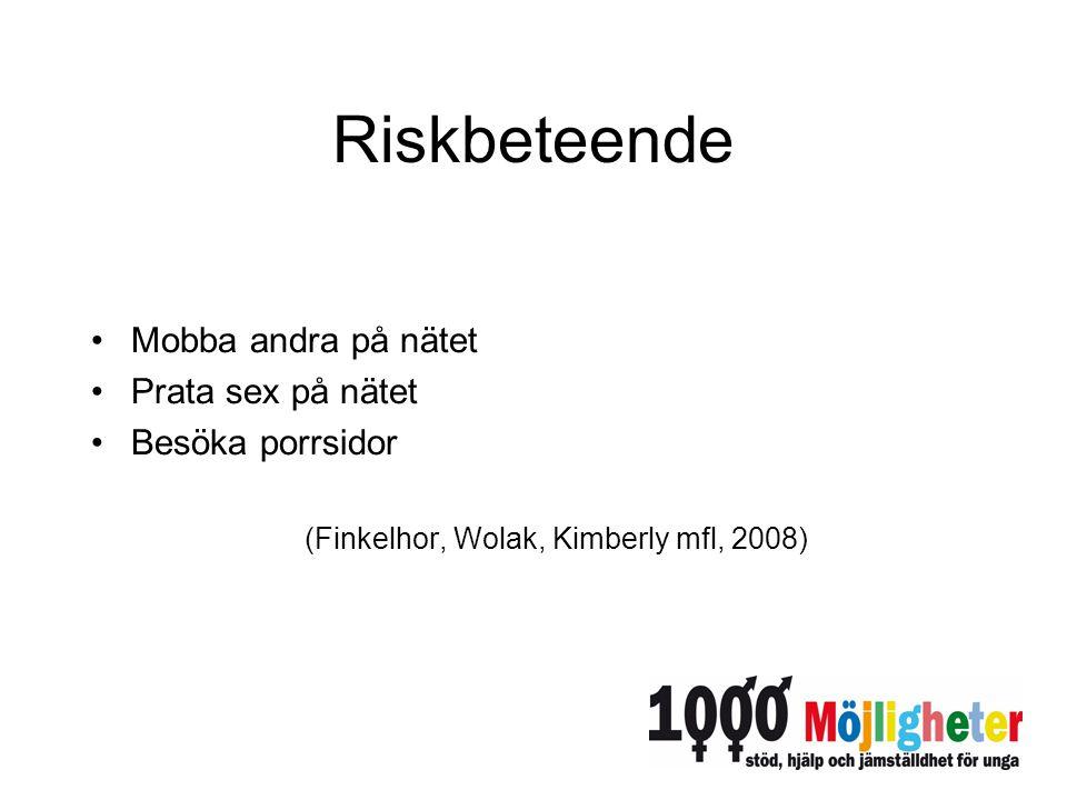 Riskbeteende Mobba andra på nätet Prata sex på nätet Besöka porrsidor (Finkelhor, Wolak, Kimberly mfl, 2008)