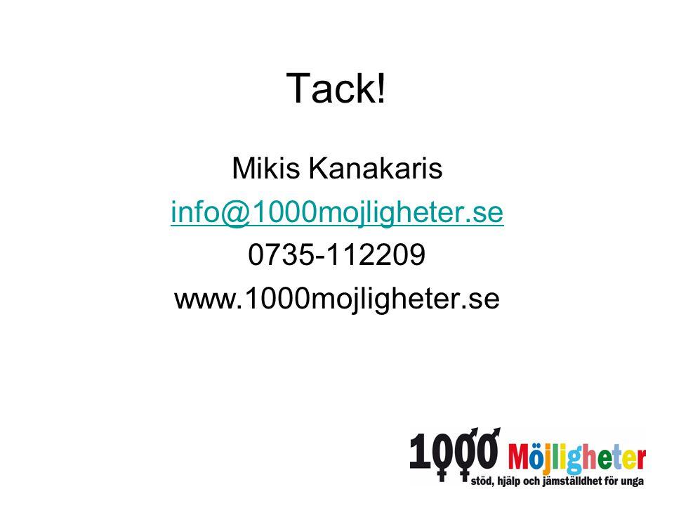 Tack! Mikis Kanakaris info@1000mojligheter.se 0735-112209 www.1000mojligheter.se