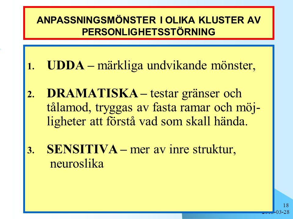2015-03-28 18 ANPASSNINGSMÖNSTER I OLIKA KLUSTER AV PERSONLIGHETSSTÖRNING 1.