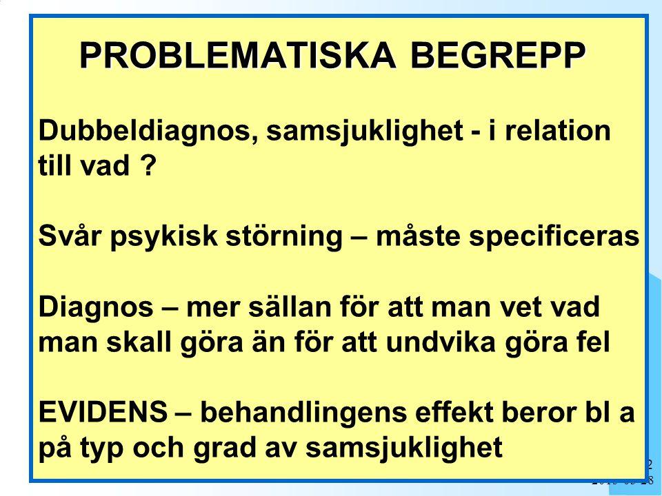 2015-03-28 2 PROBLEMATISKA BEGREPP PROBLEMATISKA BEGREPP Dubbeldiagnos, samsjuklighet - i relation till vad .