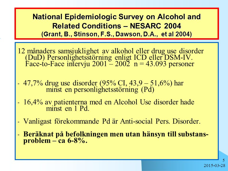 2015-03-28 5 National Epidemiologic Survey on Alcohol and Related Conditions – NESARC 2004 (Grant, B., Stinson, F.S., Dawson, D.A., et al 2004) 12 mån