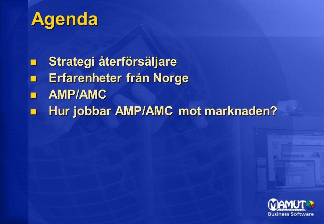 Agenda Strategi återförsäljare Strategi återförsäljare Erfarenheter från Norge Erfarenheter från Norge AMP/AMC AMP/AMC Hur jobbar AMP/AMC mot marknaden.