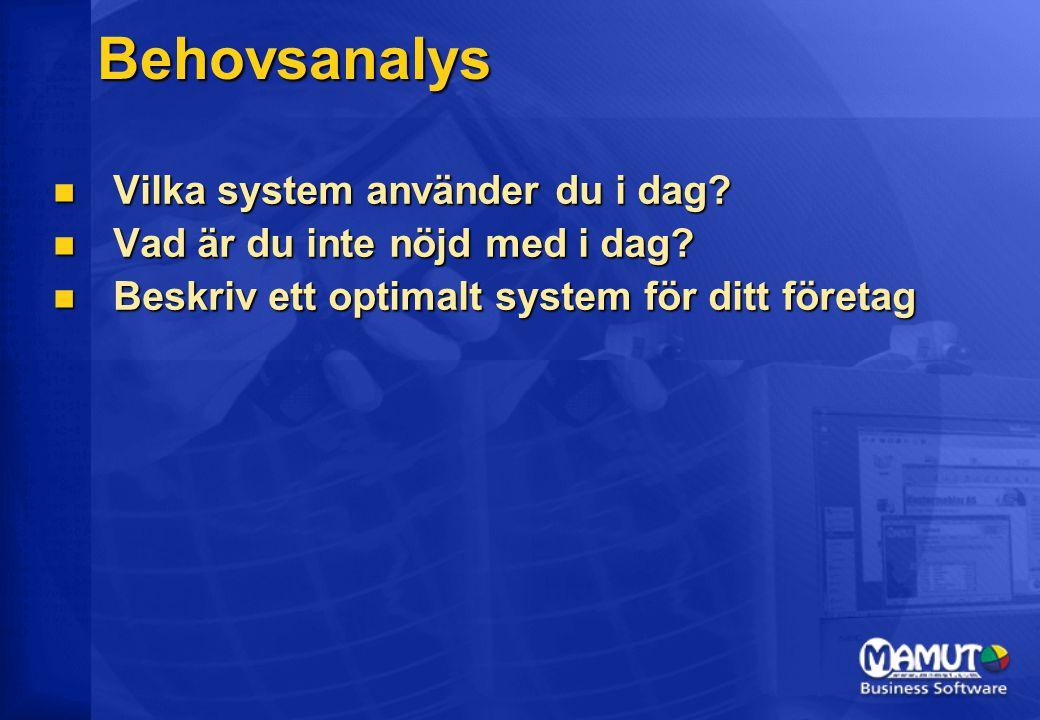 Behovsanalys Vilka system använder du i dag. Vilka system använder du i dag.