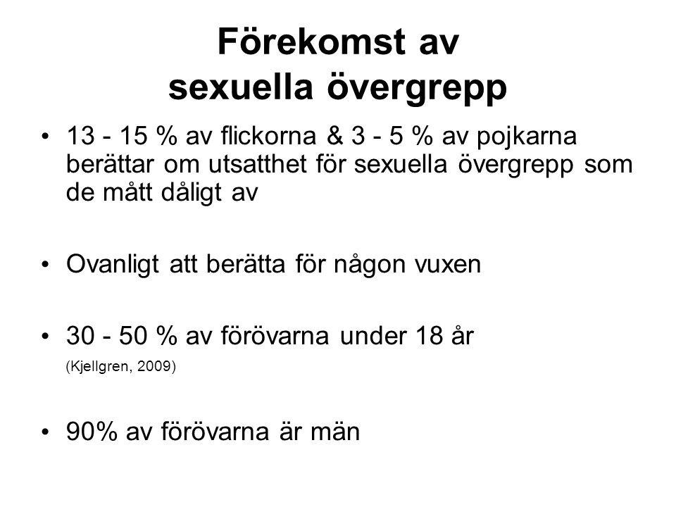 Förekomst av sexuella övergrepp 13 - 15 % av flickorna & 3 - 5 % av pojkarna berättar om utsatthet för sexuella övergrepp som de mått dåligt av Ovanligt att berätta för någon vuxen 30 - 50 % av förövarna under 18 år (Kjellgren, 2009) 90% av förövarna är män